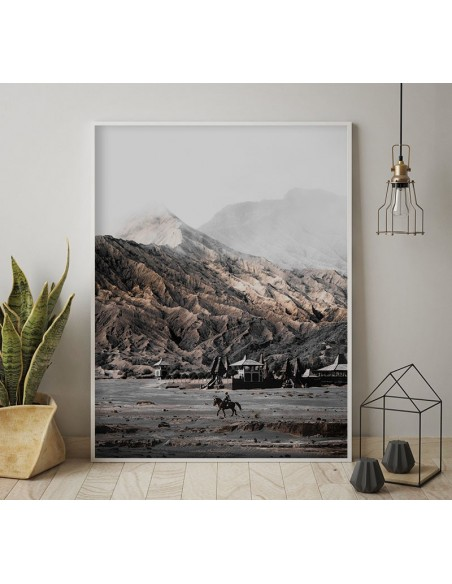 a poster with a view of the mountains made in Scandinavian style and pastel colors