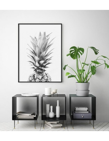 poster with pineapple in the Scandinavian style black and white