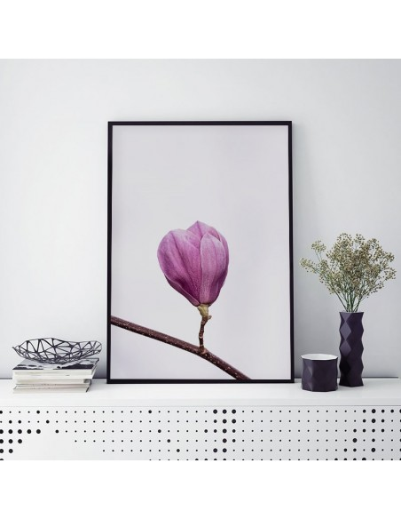 poster with a blossoming magnolia flower colorful in the Scandinavian style