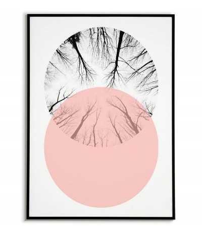 plakat geometryczny z kołami i lasem.