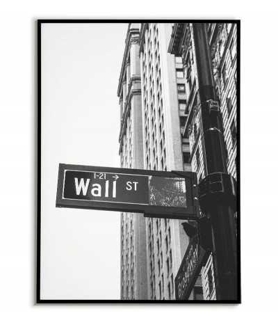 Czarno biały plakat wall street ulica w nowym jorku