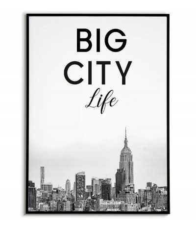 Plakat nowego jorku z napisem Big City Life w stylu skandynawskim