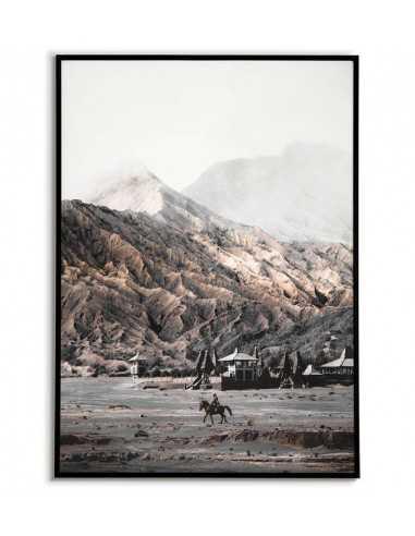 plakat z widokiem na góry wykonany w skandynawskim stylu i pastelowych kolorach