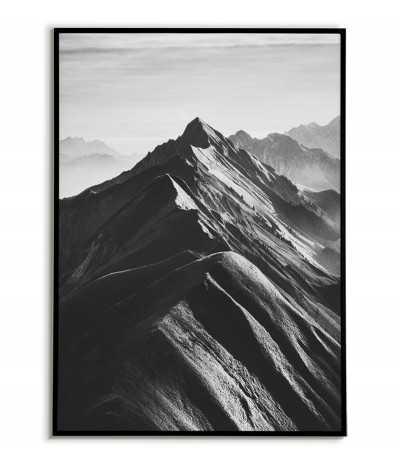 Mountain Range - Scandinavian poster with black-and-white mountains