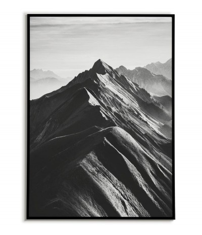 Pasmo Górskie - Plakat skandynawski z górami czarno biały