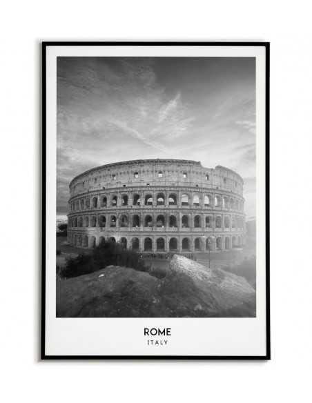 plakat rzymu we włoszech zdjęcie koloseum w czerni i bieli