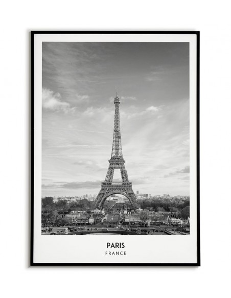 Poster with Paris and the Eiffel tower with a signature. Poster with city on the wall.