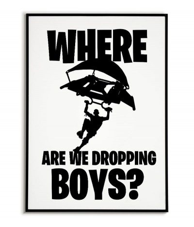 Poster for a fortnite player with the words where are we dropp boys?