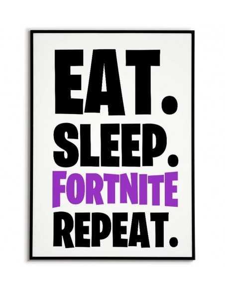 plakat z gry fortnite w pokoju dla gracza z napisem EAT SLEEP