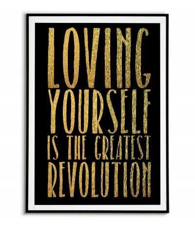 Plakat motywacyjny ze złotymi napisami