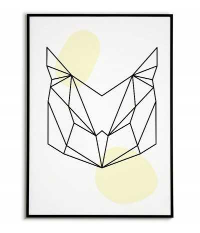 Plakat geometryczny ze zwierzętami plakat z sową w stylu skandynawskim boho