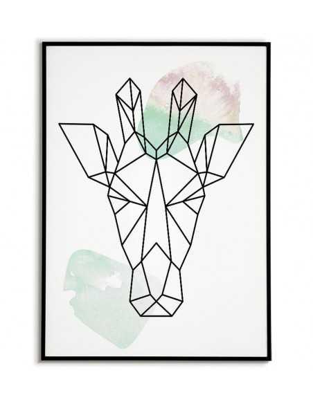 Plakat geometryczny ze zwierzętami plakat z żyrafom w stylu skandynawskim boho
