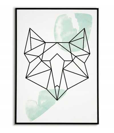 Plakat geometryczny ze zwierzętami plakat z lisem w stylu skandynawskim boho