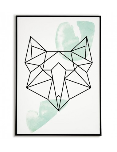 Geometric animals poster with fox in...
