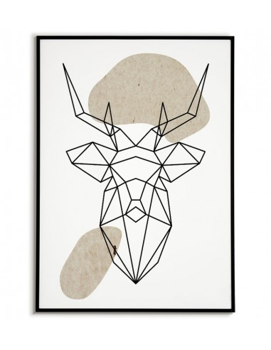 Geometric animals poster with deer in...