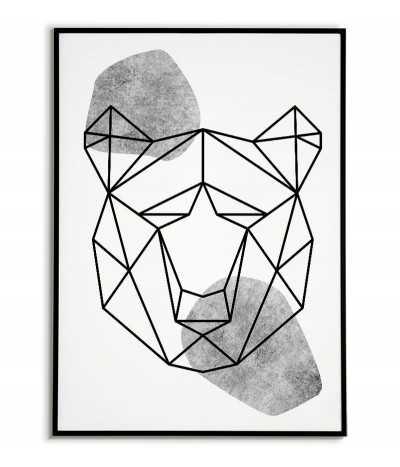 Plakat geometryczny ze zwierzętami plakat z niedźwiedziem w stylu skandynawskim boho