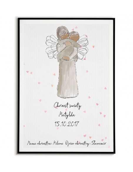 plakat obrazek w formie pamiątki chrztu świętego z aniołkiem tulącym dziecko.