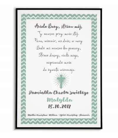 plakat obrazek w formie pamiątki chrztu świętego idealny do ramki. z modlitwą - Aniele Boży