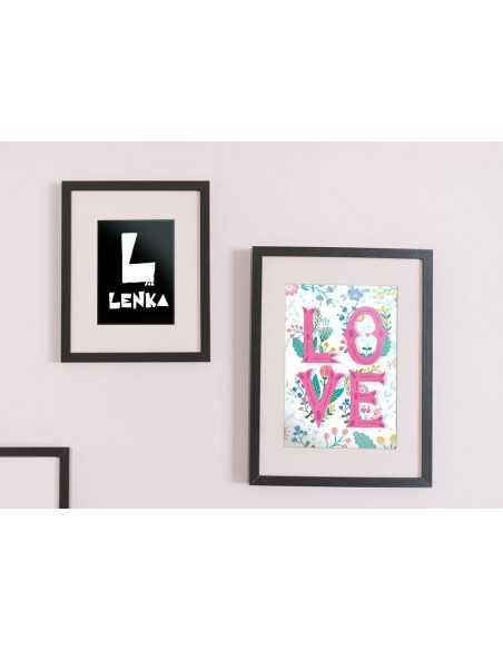 obrazek na ścianę, grafika do ramki, obrazek do ramki, napis love,