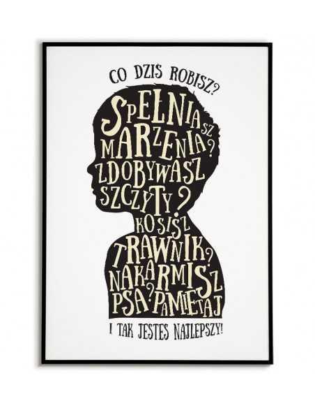 plakat typograficzny, plakat do salonu, grafika do domu, obrazki do domu, plakat