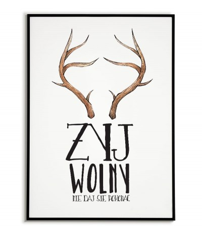 Plakat skandynawski, plakat motywacyjny, rogi, jeleń, przyroda,