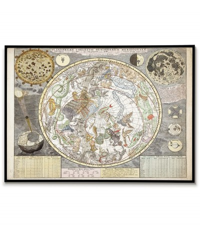 Old map of sky stars with...