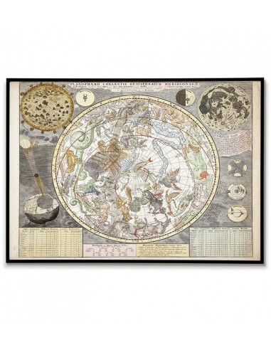 Old map of sky stars with zodiac...