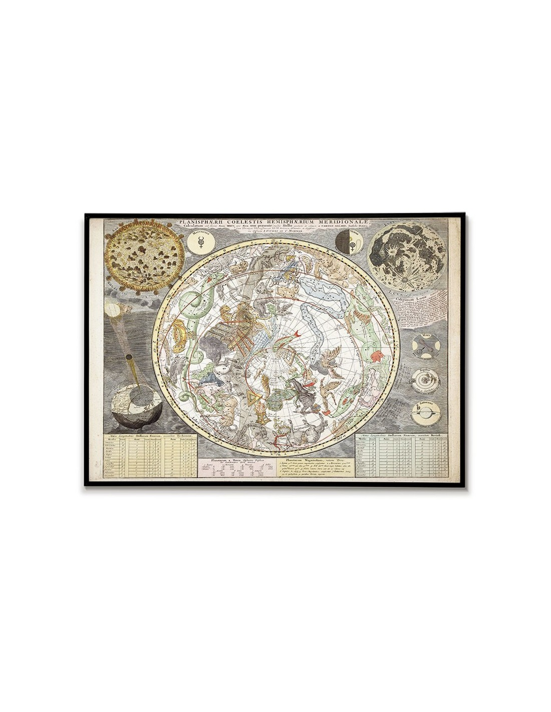 Stara Mapa Gwiazd Nieba Ze Znakami Zodiaku Piękny Plakat