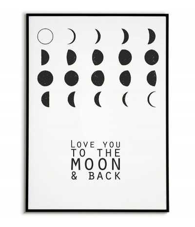 plakat z księżycem, księżyc, plakat z kosmosem, plakaty do domu, obrazek, planeta, i love you to the moon