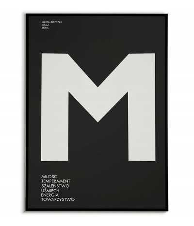 Spersonalizowany plakat dla na ścianę - Litera Imienia z opisem osoby - Obrazek do ramki na czarnym tle