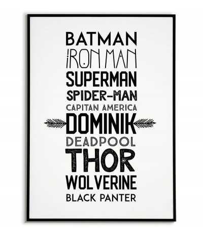 Imiona superbohaterów z imieniem dziecka - personalizowany plakat z super bohaterami