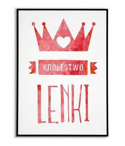 """Plakat do pokoju dziecka """"Królestwo imię"""" z koroną w dwóch wersjach kolorystycznych."""