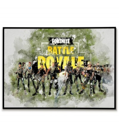 Plakat fortnite Battle royale do ramki wykonany z akwareli. Do pokoju gracza