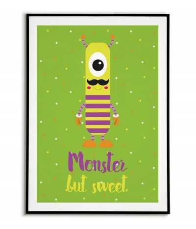 obrazek dla dziecka, plakat dla dziecka,  plakat z potworkiem, słodki potworek,
