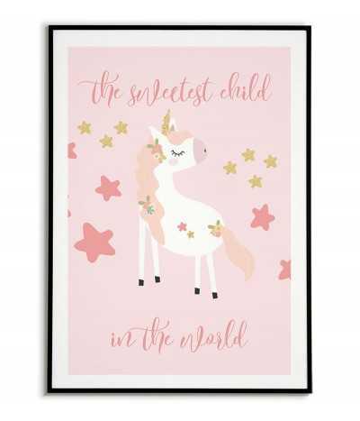 obrazek dla dziecka z jednorożcem, plakat dla dziecka jednorożec