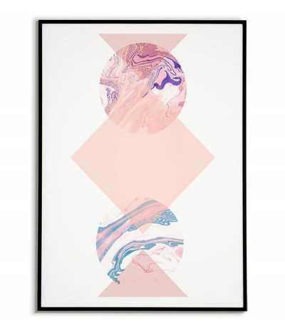 plakat geometryczny w pastelowych kolorach nowoczesny kola i trójkąty