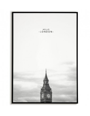 Scandinavian poster with BIG BEN building and Hello London in black and white
