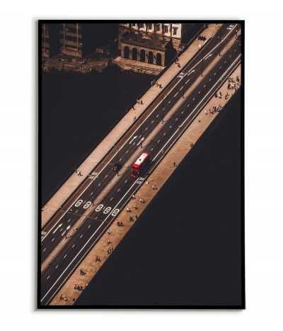 Plakat Londynu z lotu ptaka, most londyński i czerwony autobus