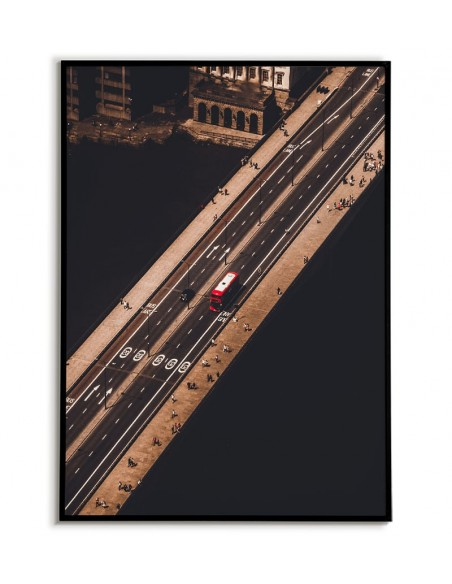 London aerial poster, London bridge and red bus