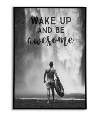 Plakat motywacyjny z napisami i wodospadem. Człowiek przed wodospadem
