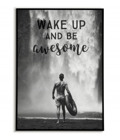 Motivational poster with inscriptions and a waterfall. Man in front of a waterfall