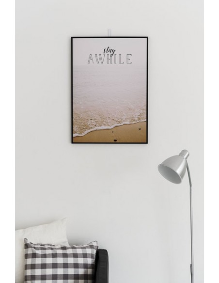 Scandinavian motivational poster with the inscription and the ocean