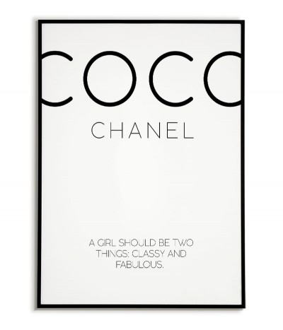 Coco Chanel motivational poster with quote, fashion poster with coco quote