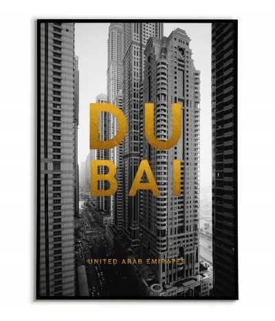 Plakat z miastem, Dubaj Emiraty arabskie z nazwą miasta i złotymi napisami