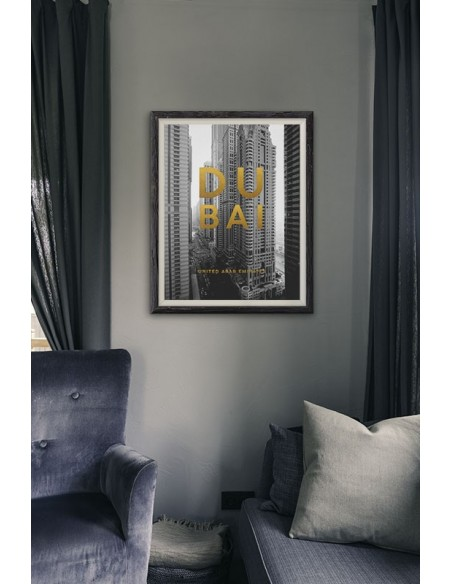 Poster with the city, Dubai Arab Emirates with the city name and golden inscriptions