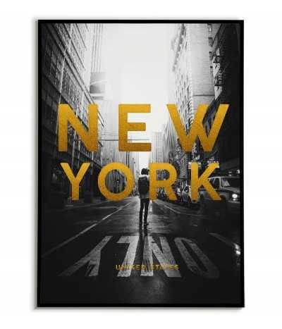plakat z nowym jorkiem i złotymi napisami. plakat nowego jorku z nazwą miasta i kraju.