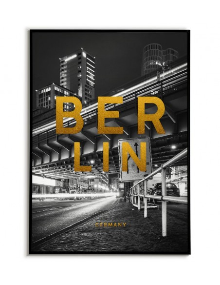 Poster with Berlin. Poster with the name of the city of Berlin and golden inscriptions.