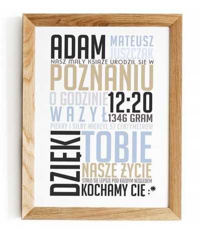 metryczka dla dzieci z napisami typograficzna w różnych kolorach