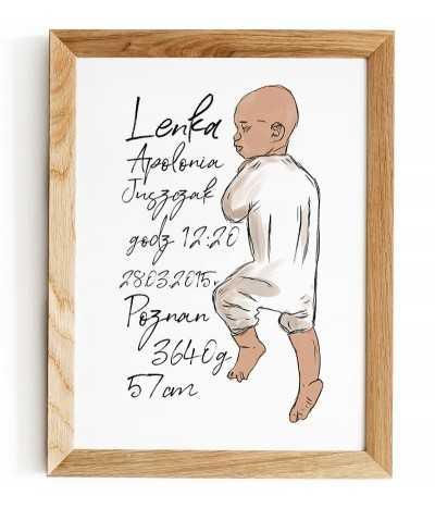 metryczka dla dziecka z okazji narodzin w prostym stylu skandynawskim