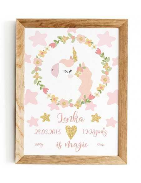 metryczka dla dziecka z okazji narodzin w prostym stylu skandynawskim z różowym jednorożcem